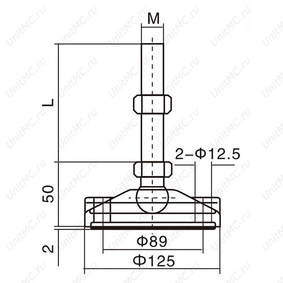 Чертеж.DG125. Шарнирные регулируемые опоры винтовые.