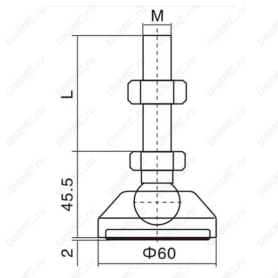 Чертеж.DG60. Шарнирные регулируемые опоры винтовые.