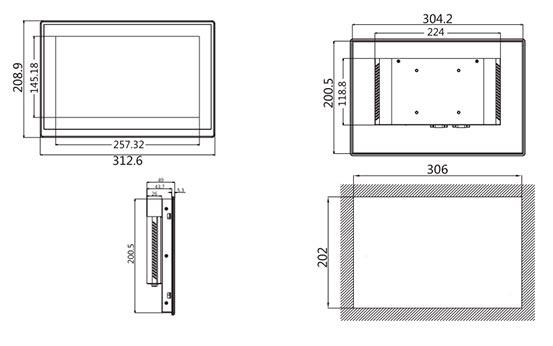 Операторская панель сенсорная PI9120 чертеж