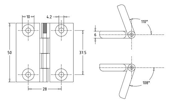 Нейлоновые петли промышленные накладные плоские HL.40104. Чертеж
