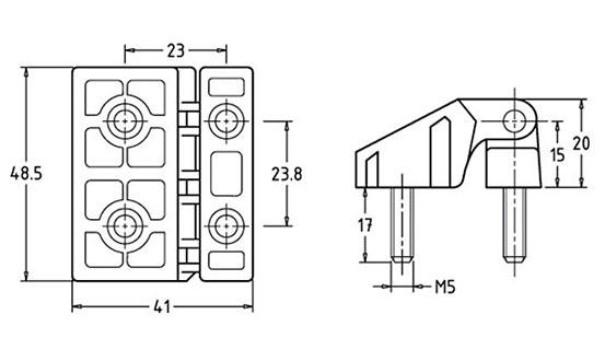 Специальные промышленные петли HL40105 Чертеж