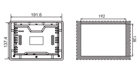 Локальная панель оператора LEVI2070 монтажные размеры