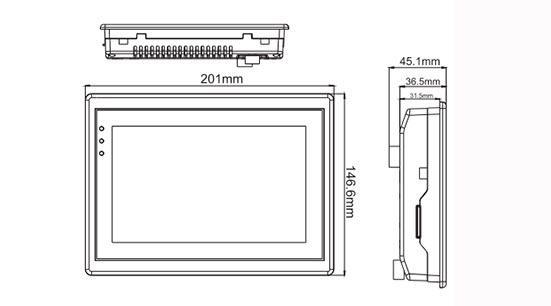 Сенсорная панель оператора LEVI700ML габариты