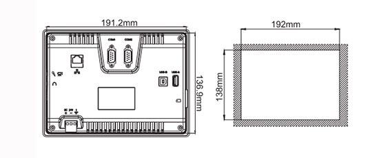 Сенсорная панель оператора LEVI700ML габариты монтажные