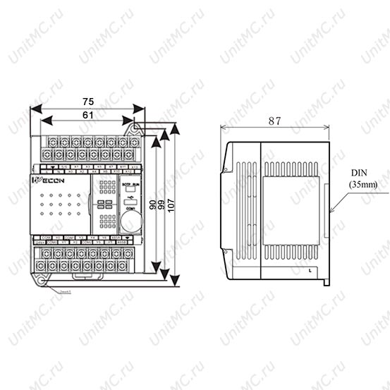 Промышленный PLC LX3V-0806MR/LX3V-0806MT Wecon размеры