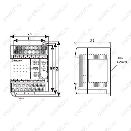 PLC контроллер LX3V-1208MR/ LX3V-1208MT Wecon размеры