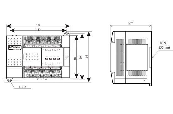 ПЛК промышленный LX3V-1212MR Wecon размеры