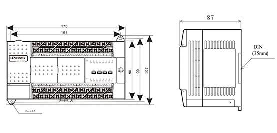 Транзисторный контроллер Wecon LX3V-1616MT4H размеры