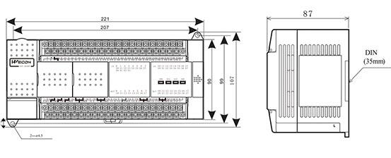 Промышленный логический контроллер LX3V-3624MR2H размеры