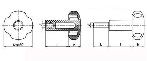 Ручка грибок TF01019 чертеж