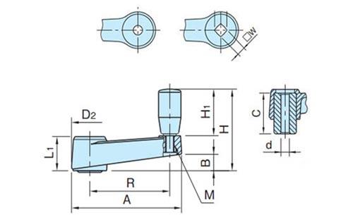 Рукоятка кривошипная TF04012-1 Чертеж