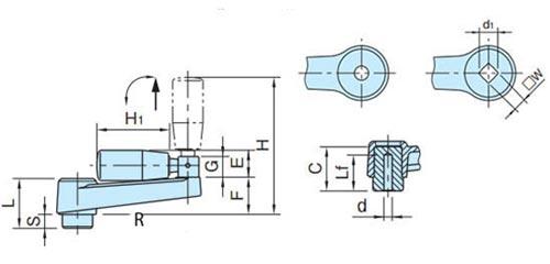 Рукоятка приводная TF04012-2 Чертеж