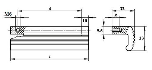 Ручка профильная алюминиевая TF02011 Чертеж