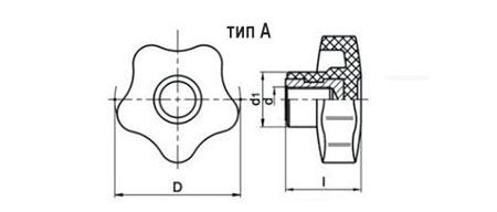 Лепестковая ручка нейлоновая TF01002-A чертеж