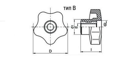 Лепестковая ручка нейлоновая TF01002-B чертеж