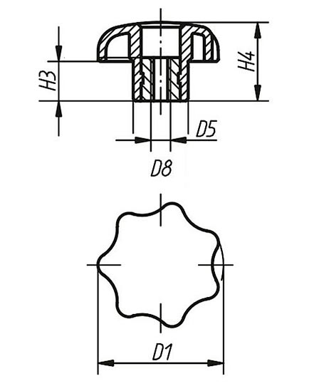 Ручка лепестковая с втулкой TF01010 чертеж