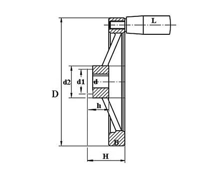 Маховик c рукояткой TF04016 Чертеж
