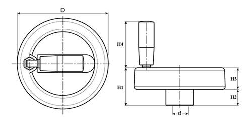 Маховик ручного привода TF04008 Чертеж