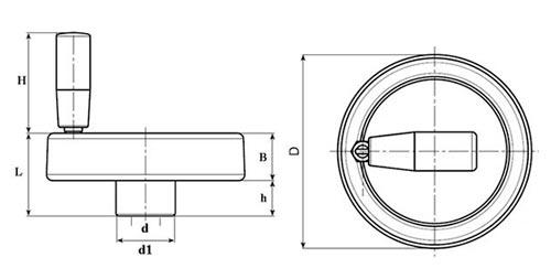 Маховик с ручкой откидной TF04001 чертеж