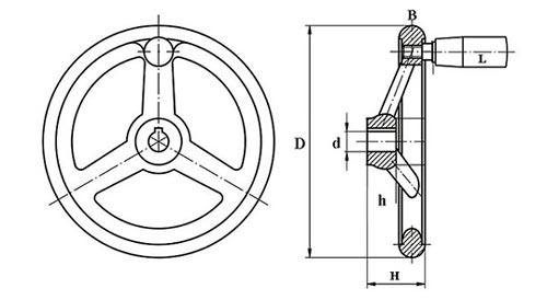 Штурвал станка c рукояткой TF04019 Чертеж