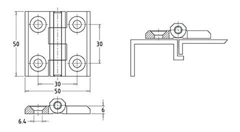 Петли металлические универсальные HL.41203 Чертеж