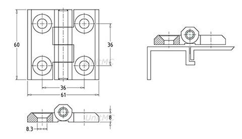 Петли металлические универсальные HL.41204 Чертеж
