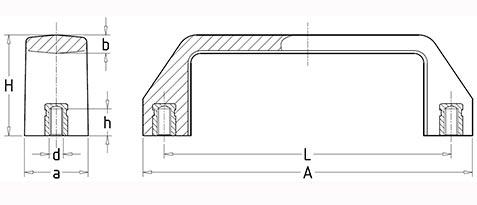 Чертеж. П-образная бакелитовая ручка HL14190