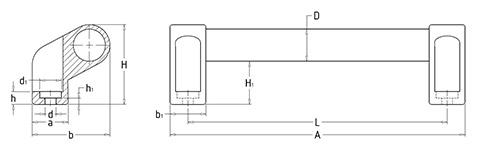 Чертеж. Ручка для технической двери трубчатая HL14220