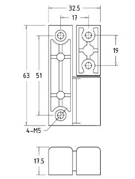 Шарниры накладные промышленные HL.41212 Чертеж