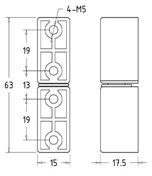 Шарниры промышленные накладные HL.41211 Чертеж