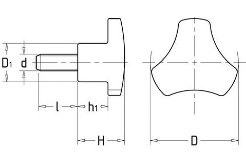 Чертеж. Трехгранная ручка барашек со шпилькой HL12031