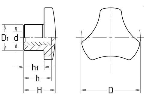 Чертеж. Трехгранная ручка барашек со втулкой HL12030