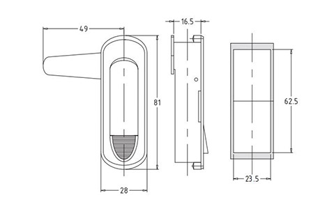 Чертеж. Замки для промышленных шкафов HL51201
