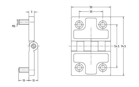 Чертеж. Петля техническая металлическая HL41206