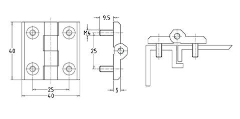 Чертеж. Промышленные петли специальные со шпильками HL41202