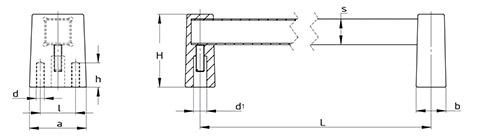 Чертеж.Ручка техническая квадратная HL14110