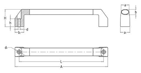 Чертеж. Ручка техническая трубчатая HL1421
