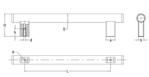 Чертеж. Дверная техническая ручка HL14200