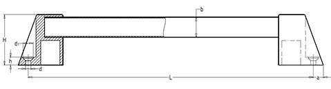 Чертеж. Техническая ручка мостовидная HL14150