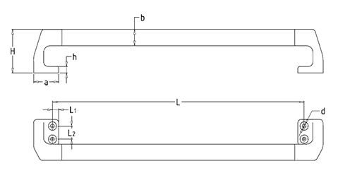 Чертеж. Техническая трубчатая ручка HL1460