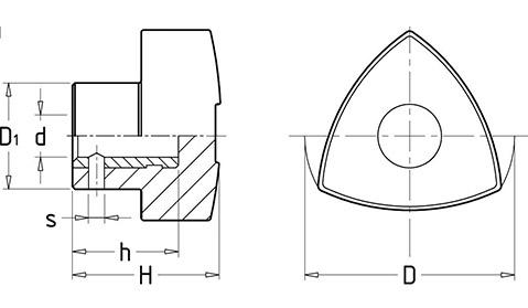 Чертеж. Ручка барашек трехгранная HL12040