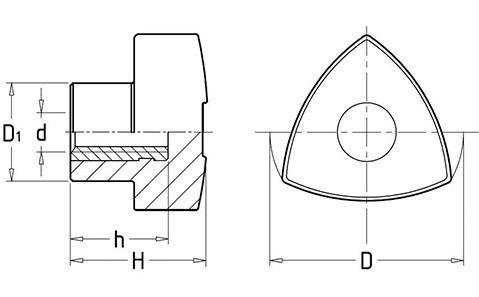 Чертеж. Ручка барашек трехгранная HL12041
