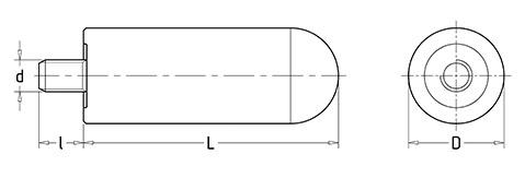 Чертеж. Ручка цилиндрическая со шпилькой HL11260