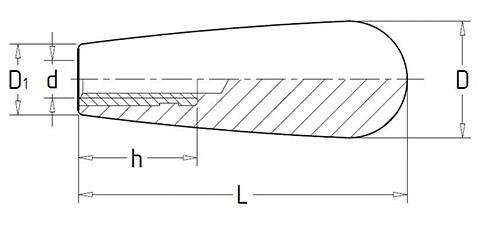 Чертеж. Ручка каплевидная для станка с резьбовой втулкой HL11230