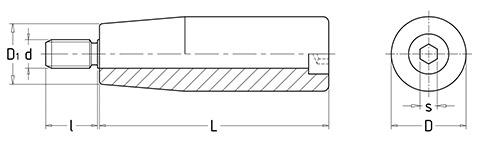 Чертеж.Ручка коническая со шпилькой HL11042