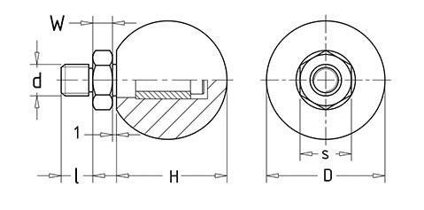 Чертеж. Ручка сферическая c с гайкой HL11101