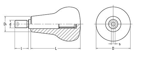 Чертеж. Ручка вращающаяся сферическая HL11360