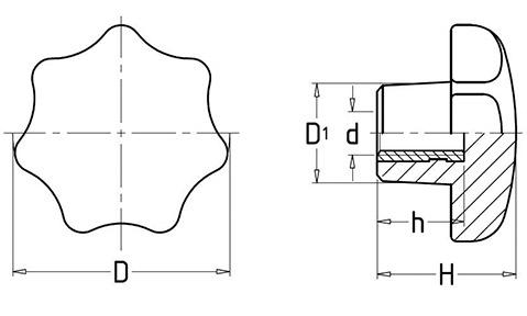 Чертеж. Звездообразная ручка пятилучевая с гайкой HL12111
