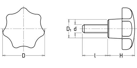 Чертеж. Звездообразная рукоятка пятилучевая HL12112