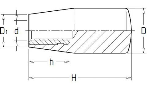 Чертеж.Коническая ручка с резьбой со стальной резьбовой втулкой HL11212